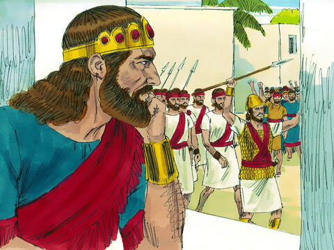 Saul planned to get David killed in battle so he made him commander over a thousand men. However, the Lord was with David and he was victorious in battles making him even more popular. – Slide 5