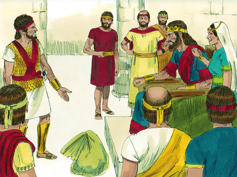 Saul offered his daughter Michal in marriage to David if he killed 200 Philistines. David did not think himself worthy to become the King's son-in-law but took up the challenge. David was not killed by the Philistines as Saul hoped but returned in triumph and took Michal as his wife. Saul became afraid of David as he knew the Lord was with him. – Slide 7