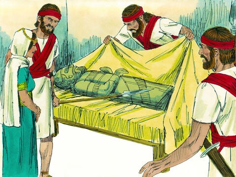 The next morning when the soldiers arrived, she pretended David was ill. When Saul told them to bring David to him they discovered the figure in the bed was an idol. – Slide 12
