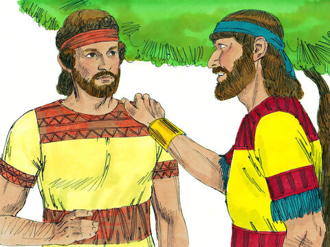 David arranged a secret meeting with Jonathan. They made a promise to show kindness to each other and their families. The next day was the New Moon feast and David was supposed to dine with the King but he was going to hide in a field instead. Jonathan agreed to let David know if Saul was angry and still planning to kill him. They arranged a secret signal, involving an arrow being shot, to let David know whether it was safe or needed to flee. – Slide 14