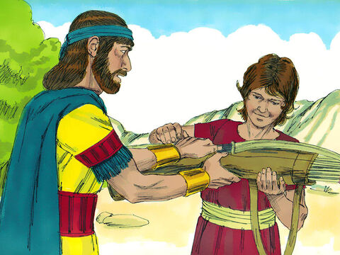 The boy picked up the arrow and returned to his master. Jonathan gave his weapons to the boy and said, 'Go, carry them back to town.' – Slide 21