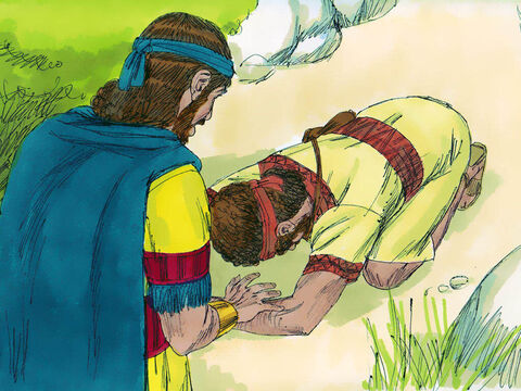 After the boy had gone, David got up from his hiding place and bowed down before Jonathan three times, with his face to the ground. – Slide 22