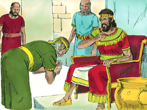 The king asked Ziba, 'Is there anyone still alive from Saul's family to whom I can show God's kindness?' Ziba replied 'There is Mephibosheth, the son of Jonathan who is lame in both feet. – Slide 3