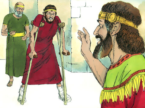Mephibosheth arrived at the palace in fear, not knowing what David would do to him. 'Don't be afraid,' David told him, 'for I will show you kindness for the sake of your father Jonathan.' Mephibosheth bowed and said, 'Who am I, that you should notice a dead dog like me?' – Slide 6