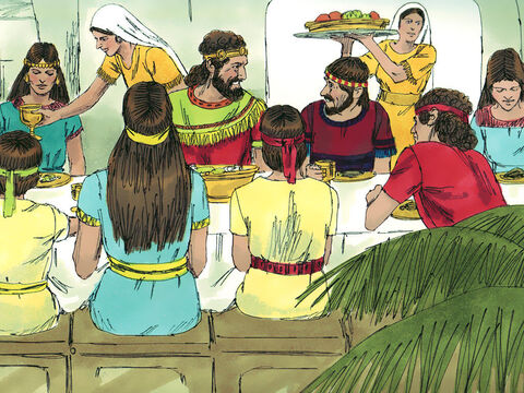 From that day all the members of Ziba's household became servants of Mephibosheth. Mephibosheth lived in Jerusalem, and always ate at the king's table. – Slide 9