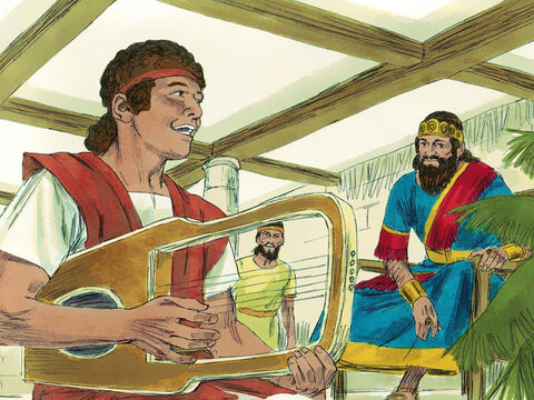 After winning his battle with Goliath David was invited to play his harp before King Saul who was calmed by the beautiful music he played. David was skilled in writing songs of praise to God called 'Psalms'. They were poems set to music. – Slide 2