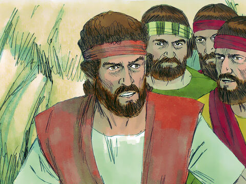 King Saul was trying to kill David to prevent him becoming the next King of Israel. David fled to hide in a large cave at Adullum where his family came to join him. Four hundred men who were either in distress, in debt, or discontent came to support David. – Slide 1