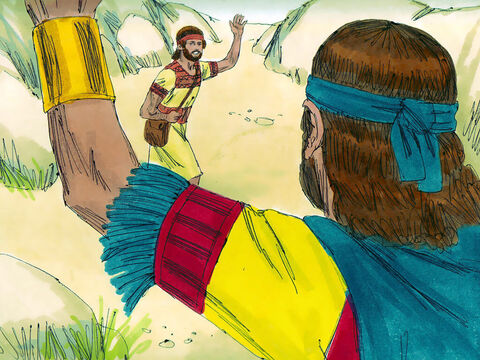 'Don't be afraid,' Jonathan told David. 'My father Saul will not lay a hand on you. You shall be king over Israel, and I will be second to you.' The two made a promise before God and went their ways. – Slide 6