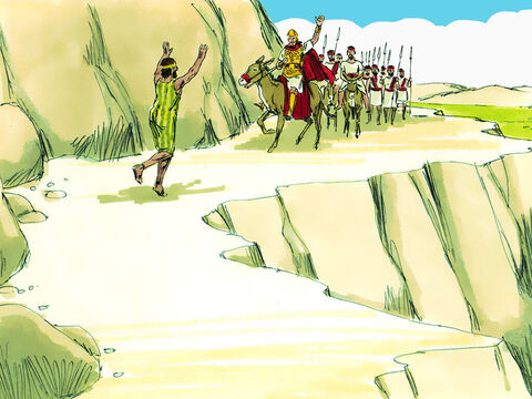 At the moment Saul was closing in on David a messenger appeared. 'Come quickly, the Philistines are attacking our land.' Saul had to break off his pursuit of David to go and fight the Philistines. – Slide 9