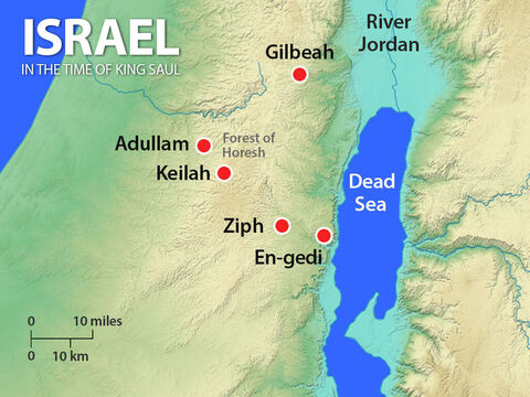 David and his men escaped to live in the wilderness hills and caves around En-gedi near the Dead Sea. King Saul fought against the Philistines then, when told that David was in En-gedi, he returned with 3,000 men to search for David. – Slide 10