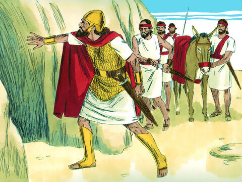 David and his men were hiding in a cave. King Saul needed to relieve himself and went alone into the cave in which David was hiding. – Slide 11