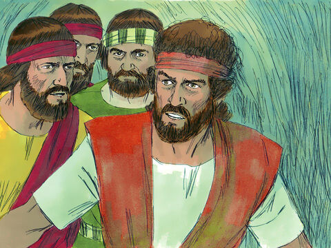 """David and his men were hiding far back in the cave. His men whispered, 'This is the day the Lordspoke of when he said, """"I will put your enemy into your hands for you to deal with as you wish.""""' David crept up unnoticed on King Saul. – Slide 12"""
