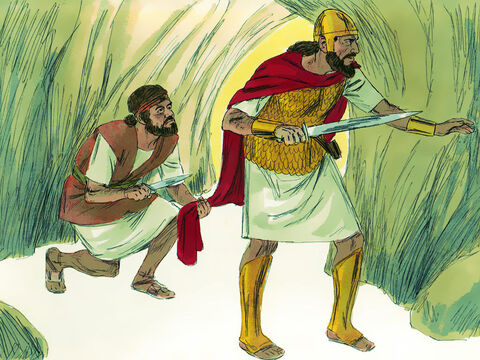 Instead of killing Saul, David cut off the edge of his robe without his noticing it. 'TheLord forbid that I lay my hands on the King He has anointed,' he told his men. And he stopped them attempting to kill Saul. – Slide 13