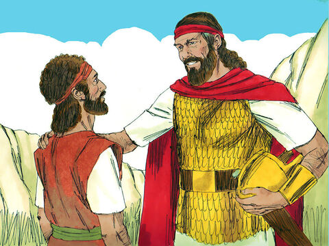 King Saul told David that he now knew that David would be the next king of Israel. He asked David not to kill his descendants or wipe out his family name when he became king. David promised he would not kill Saul's descendants. King Saul then returned home, but David stayed at En-gedi. – Slide 16