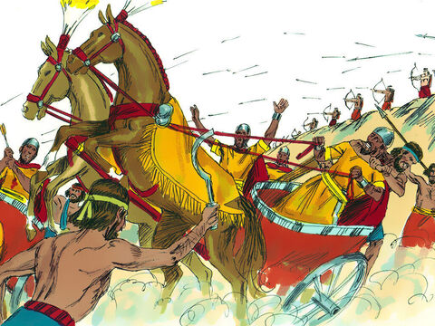 It had rained and the Kishon river was in flood. Barak led his 10,000 warriors down the slopes of Mount Tabor into battle. Sisera chariots got bogged down in the wet clay and his warriors abandoned them to flee on foot. – Slide 14