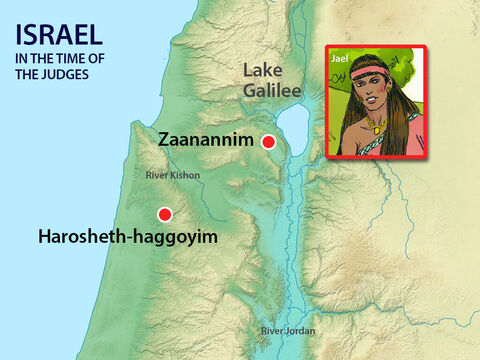 Barak chased them all the way to Harosheth-haggoyim, killing all of Sisera's warriors. However Sisera fled towards Zaanannim where Heber the Kenite had pitched his tent. He was on on friendly terms with King Jabin of Hazor. Heber's wife was called Jael. – Slide 15