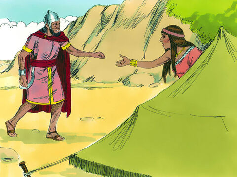Jael went out to meet Sisera and said, 'Hide in my tent, sir. Don't be afraid.' So he went into her tent. She gave him milk to quench his thirst and then hid him under a blanket. 'Stand at the door of the tent,' he told her. 'If anybody comes say there is no-one here.' – Slide 16