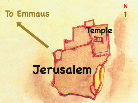 They were on their way to a village called Emmaus 7 miles (11 kilometres) out of the city. – Slide 2