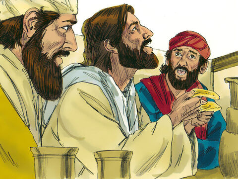 As they ate together, the stranger took the bread, broke it and gave it to them. Immediately God allowed the two disciples to see who the stranger was. Jesus! – Slide 11