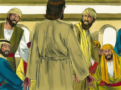 Suddenly Jesus appeared and stood among them. 'Peace be with you,' He said. Everyone was frightened, thinking they were seeing a ghost. – Slide 15