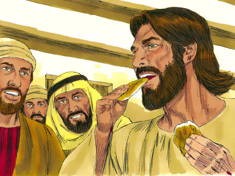 "The disciples were full of joy and amazement but could still not really believe Jesus was alive. 'Do you have something I can eat?"" Jesus asked. They gave Him some broiled fish and Jesus ate it as they watched. – Slide 17"
