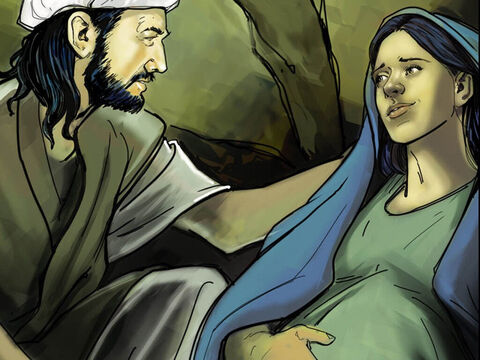 Joseph made Mary as comfortable as he could. – Slide 7