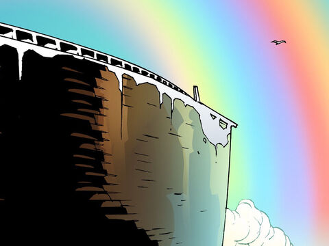Noah built an altar to worship the Lord. God then set a rainbow in the sky as a sign that He promised never to flood the whole earth again or destroy all living creatures. He also promised that seedtime and harvest, cold and heat, summer and winter, day and night would never cease. – Slide 12