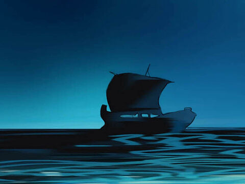 Late that night, the disciples were in their boat in the middle of the lake. Jesus was alone on land. – Slide 2