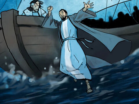 So Peter went over the side of the boat and walked on the water toward Jesus. – Slide 8