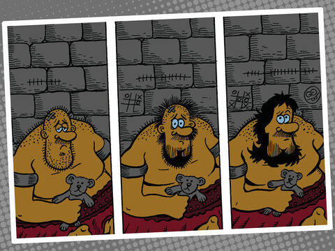 The Philistines easily captured Samson and put out his eyes. They took him to Gaza, chained him with bronze chains, and put him to work grinding at the mill in the prison. But his hair started growing back. <br/>The Philistines met together to celebrate and offer a great sacrifice to their god Dagon. They sang, 'Our god has given us victory over our enemy Samson!' <br/>They were enjoying themselves and said, 'Call Samson to entertain us!' <br/>When the people saw Samson, they sang praise to their god: 'Dagon has given us victory over our enemy, who devastated our land and killed so many of us!' – Slide 11