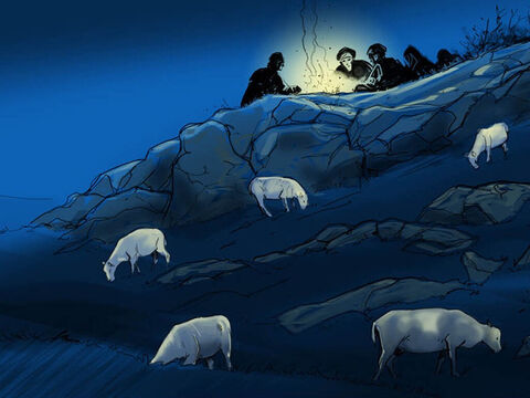On the night baby Jesus was born, in the hills outside Bethlehem … – Slide 1