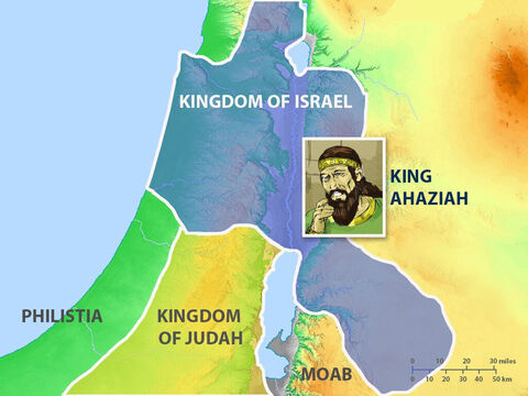 When King Ahab died Ahaziah became King of the Northern Kingdom of Israel. He followed his father's bad example in worshipping false gods. – Slide 2