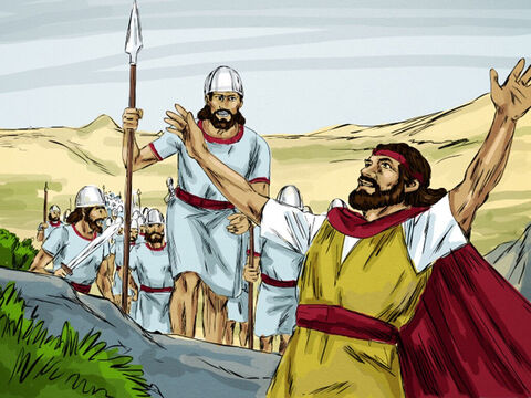 """The King ordered an army captain with fifty soldiers to find Elijah and seize him. The captain found Elijah sitting on the top of a hill, and ordered, 'Man of God, the king says, """"Come down!""""' Elijah replied, 'If I am a man of God, may fire fall down from heaven on you and your fifty men!' – Slide 7"""