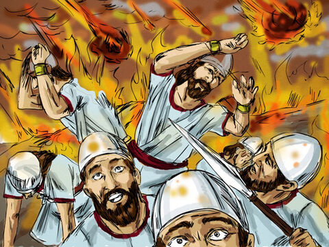 Immediately fire fell from heaven and consumed the captain and his men. When King Ahaziah heard what has happened he sent another army captain with his fifty men. – Slide 8