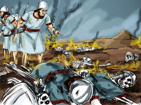 The captain found the hill and the scene of the disaster. He told Elijah, 'Man of God, the king orders you to come down at once!' – Slide 9