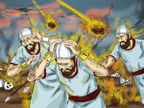 Suddenly the fire of God fell from heaven and consumed him and his fifty men. When King Ahaziah heard the news, he sent a third army captain with his fifty men to seize Elijah. – Slide 10