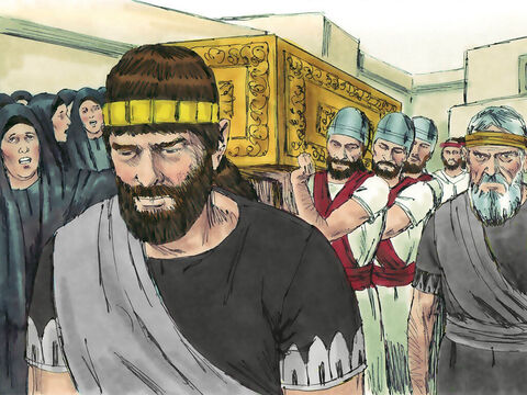 Just as God had said, King Ahaziah died. He did not have a son to succeed him so his brother Joram became King. – Slide 14
