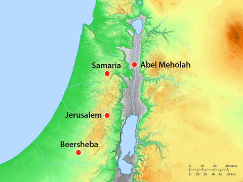 Elisha and his family lived in Abel Meholah in the land of Israel ruled by King Ahab and Queen Jezebel. It was Queen Jezebel who had threatened to kill Elijah. – Slide 2
