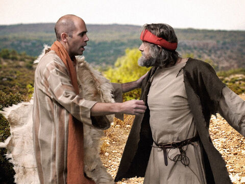 'Let me kiss my parents goodbye,' Elisha said, 'and then I will come with you.' Elisha was prepared to give up his job and leave his family to obey God and become a prophet. 'Go back,' Elijah replied. 'What have I done to you?' – Slide 6