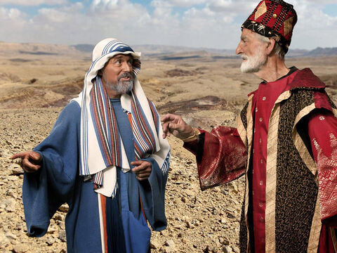 Obadiah went to fetch Ahab and the two returned to where Elijah was waiting. – Slide 5