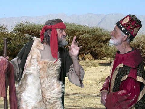 'Is that you Elijah, the trouble maker of Israel?' Ahab asked. 'It is you who have been causing trouble by worshipping the false god Baal,' Elijah replied. – Slide 6