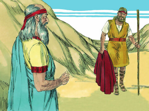 As Obadiah was walking along, he suddenly met Elijah. Obadiah bowed to the ground and asked, 'Is it really you, Elijah?' 'Yes,' Elijah replied. 'Go tell King Ahab, I am here.' Obadiah made Elijah promise to stay where he was while he fetched the King. – Slide 6