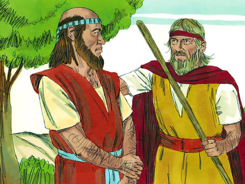 Elijah and Elisha were on their way out of Gilgal when Elijah said, 'Stay here, the Lord has sent me to Bethel.' Elisha replied, 'As surely as the Lord lives and you live, I will not leave you.' – Slide 1