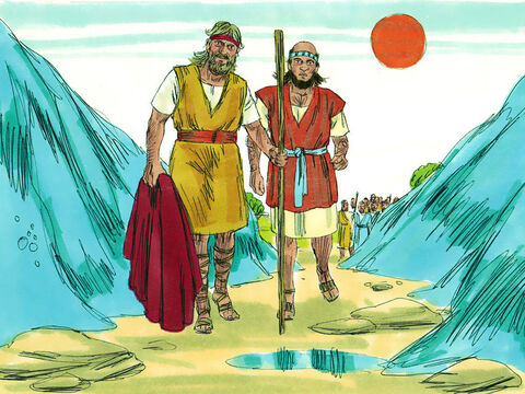 Elijah took his cloak, rolled it up and struck the water with it. The water divided to the right and to the left, and the two of them crossed over on dry ground. The fifty prophets stood and watched them cross the river. – Slide 8