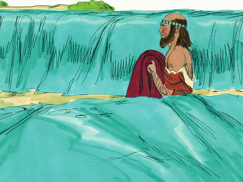 Elisha then picked up Elijah's cloak and went and stood on the bank of the Jordan. He took Elijah's cloak and struck the water with it. 'Where now is the Lord God of Elijah?' he asked. The water divided to the right and to the left, and he crossed over. – Slide 12