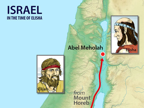 While Elijah was on Mount Horeb, God told him He would pass by. Elijah experienced a storm, an earthquake then a fire but then God spoke to him in a calm quiet voice. One of the things God told Elijah to do was to travel back to Israel to a town called Abel Mehola to anoint Elisha to succeed him as a prophet. Elijah set off on the long trip north. – Slide 1