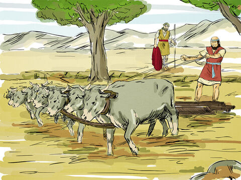 Elijah found Elisha out in a field ploughing with 12 yoke of oxen. – Slide 2