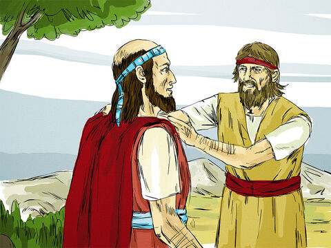 Elijah walked up to Elisha and threw his coat (mantle) over him. It was a sign that Elisha had been chosen by God to become a prophet who would one day take over from Elijah. Elisha left his oxen and ran after Elijah. – Slide 3