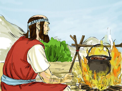 He burned his ploughing equipment to cook the meat. There was no way he could now carry on doing the job he had. – Slide 5