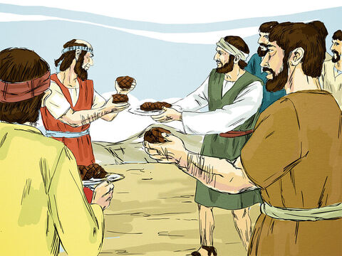 He then shared the meat with his parents and the people who had come to say goodbye. They had a big feast together. – Slide 6